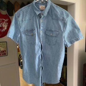 Pull snap short sleeve denim shirt lucky brand